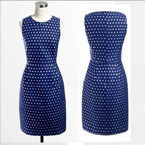 J.CREW Shimmer Silver Polka Dot Navy Dress 0